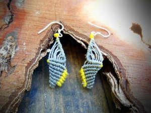 Boucles d'oreilles Toutoute grise et jaune