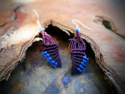 Boucles d'oreilles Toutoute violine et bleu